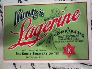 Kuntz Brewery Coaster and Rare Lagerine Label, Huether Coaster