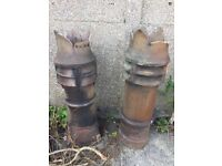 Reclaimed Vintage Pair of Crown Chimney Pots (price for both)