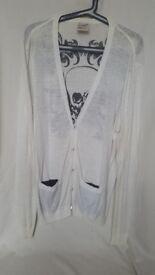 Topman White Scull Design Cardigan Size L