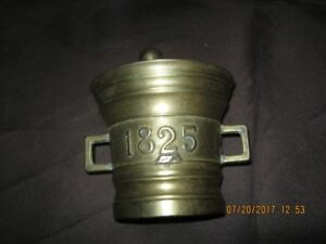 Vintage Brass Apothecary Mortar And Pestle Pill Crusher - 1825