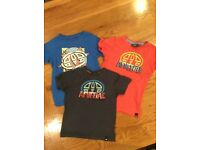 Three boys Animal t-shirts aged 3-4 years