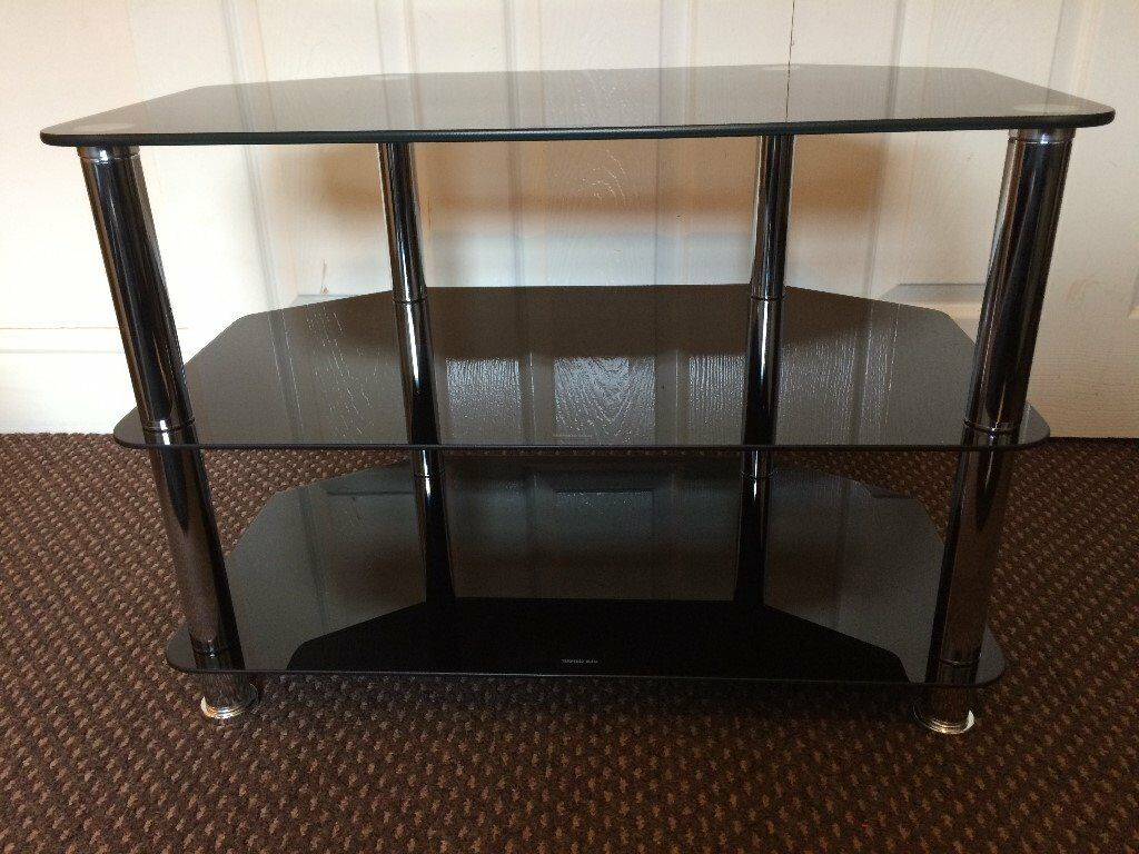 Tv Stand Black Glass Scratch Less Clean Condition Size Wide 27 Inch Deep