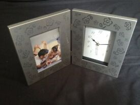 Silver picture frame with Clock