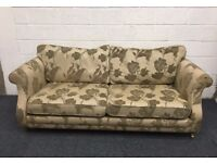 Light Gold Damask Three Seater Fabric Sofa on Brass Castors Floral Upholstery
