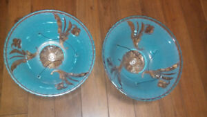 Pair Art Deco 3 Chain Frosted Blue Glass Ceiling Light Shade