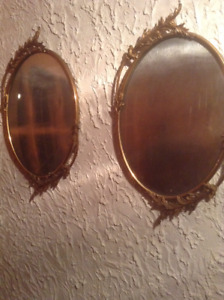 2 miroirs antiques ovales