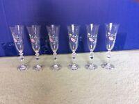 6 Summer Chintz Champagne Flutes