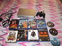 SILVER PS2 CONSOLE SCPH-50003 BUNDLE,11 GAMES,CONTROLLER
