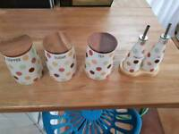 Tea, coffee and sugar set. With oil and vinegar set. TG brand.
