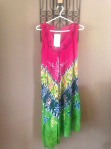 Two colorful dresses.or tunics.be nice on beach $25 for both