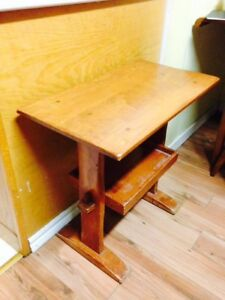 """Vintage Hand Crafted 2 Tier Table, 25"""" x 14"""" x 24"""""""