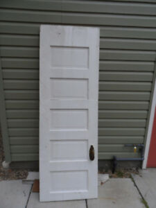 "Antique door w hinges and both locks 2'w x 71"" tall"