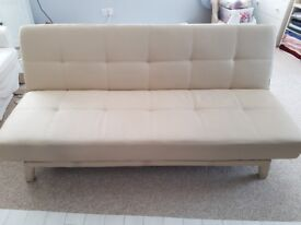 CREAM FOLD DOWN SOFA BED IN FAUX LEATHER