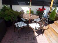 Garden Furniture Set Cast Aluminium Tilting Parasol Cushions And Cast Iron Parasol Stand