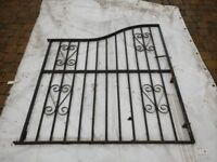 Wrought black metal gate for 6' - 6'8'' gap with hinges