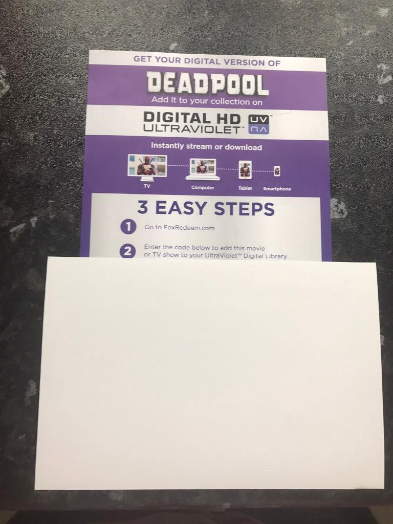 Deadpool Digital HD Ultraviolet Code Only