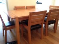 Oak dining/ kitchen table, 6 leather seat chairs, high quality light oak solid M&S 'Sonoma' range
