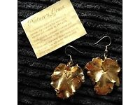 Genuine 'Nature's Gems' 24ct real gold/real leaf earrings.