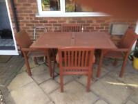 Wooden GARDEN TABLE & 4 CHAIRS.