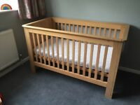Oak cot bed, originally from John Lewis with John Lewis mattress.