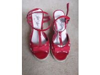 Women's Red Wedge Sandals, Size 3