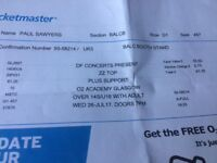 ZZTOP tickets. Two great tickets for gig on 26th bacl both standing.£160 for both.
