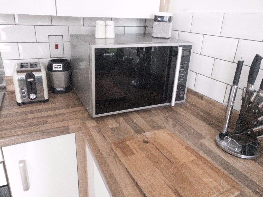 sharp r959slmaa. sharp r959slmaa 900w 40l touch control freestanding combi microwave oven - silver r959slmaa