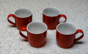 4 Piece Red Coffee Cup Set