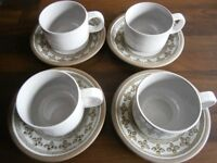 4 x Midwinter Stoneware Cups and Saucers