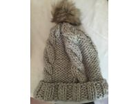 Grey hat with faux fur bobble! Very cool, never been worn!