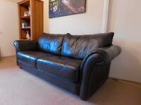 2 Leather 3 Seater Brown Sofas