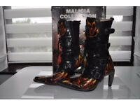 ladies malicia new rock boots high heel size euro 38 uk 5 womans goth punk