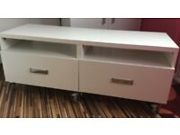 White IKEA BESTA TV Bench on Casters
