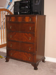 Antique dresser, chest of drawers and vanity