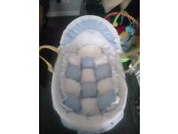 Baby moses basket blue with stand, also tommee tippee bottles and baby bath, see full advert