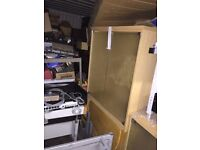 Bookcases with glass doors and shelves Made by President. 4 available.