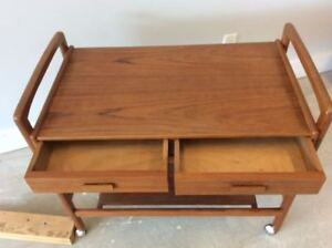 Mid Century Teak Bar Trolley and Cedar lined Hamper
