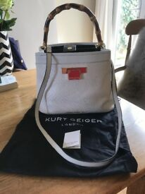 Kurt Geiger Woven Kate Cream Bag with Wooden Handle