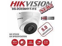 HIKVISION 5MP 1080p CCTV Dome HD Camera DS-2CE56H1T-IT3 HDTVI UK SPEC