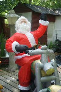 Santa Claus on a Motorcycle Blow-up
