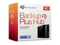 Seagate Backup Plus Hub 8 TB / 8000GB 8tb USB 3.0 Hard Drive - BRAND NEW SEALED - I can travel to u