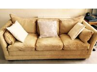Gold damask sofa for sale - £25