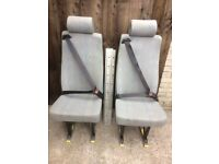 vw single inca seat with fitted seat belt and the unwin quick release mechanism and floor rails..
