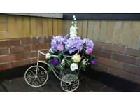 Vintage bike artificial flower arrangment, shop prop, ornament, wedding, shabby chic, purple shades