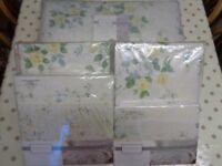 Vantona Brand 'Charlotte Lemon' Double Bedding Set + Frilled Bedspread + Curtains with Tiebacks