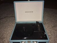 Grausch light blue portable record player