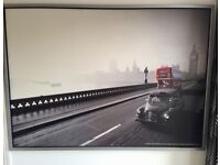 IKEA pictures, London with red buses. 140cm x 100cm, silver frames.