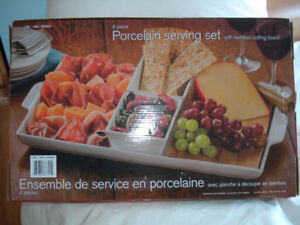Porcelain Serving Set with bamboo cutting board