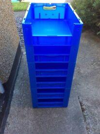 Eight sturdy stacking storage bins