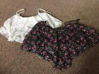 x2 Crop tops and leather skirt - size 12